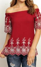 Burgundy Embroidered Off the Shoulder Top