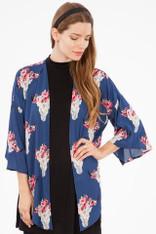 Navy Steerhead Print Kimono