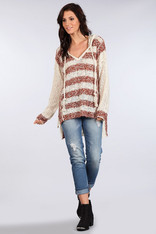 Natural and Rust Striped Hooded Sweater