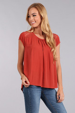 Rust Short Sleeve Top Lace Back
