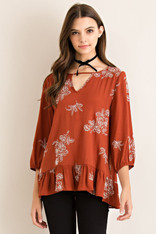 Rust Top White Embroidery