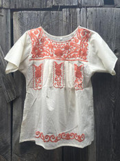 white top burnt orange embroidery