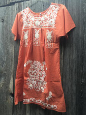 Burnt Orange Dress with White Embroidery