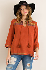 Burnt Orange Cotton Top with Embroidery