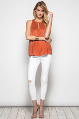 Burnt Orange Faux Suede Sleeveless Top