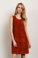 Rust Faux Suede Sleeveless Dress