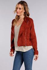 Rust Suede Moto Jacket