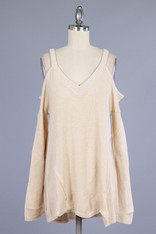 Beige Open Shoulder Sweater