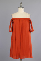 Burnt Orange Off the Shoulder Dress with Embroidered Sleeves
