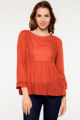 Lightweight 3/4 Sleeve Burnt Orange Top