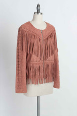 Dusty Rose Fringe Jacket