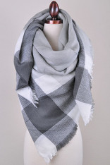 Grey and White Plaid Blanket Scarf