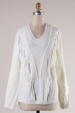 Ivory Sweater Fringe Detail
