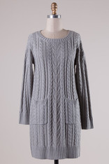 Gray Cable Knit Sweater Dress