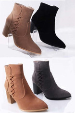 Black Suede Booties Lace Up Design