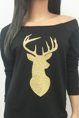 Black Sweatshirt with Gold Deer