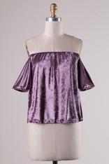 Purple Velvet Off the Shoulder Top