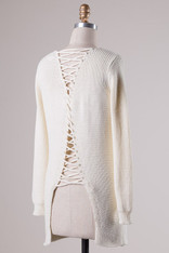 Cream Sweater Lace Up Back