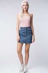 embroidered denim mini skirt