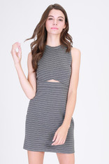 Grey and White Striped Cut Out Dress
