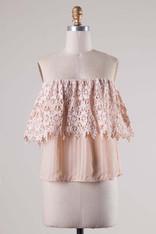 Blush Off the Shoulder Crochet Trim Top