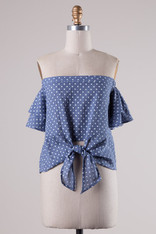 Polka Dot Knotted Off the Shoulder Top