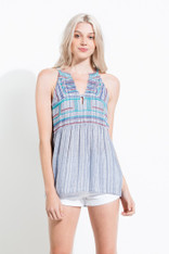 Navy Patterned Sleeveless Top with Embroidery