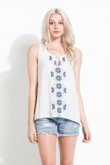Cream Sleeveless Top with Embroidery