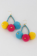 Turquoise Pom Earrings