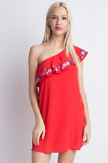 Red One Shoulder Dress with Embroidery