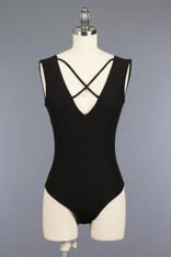 Black Criss Cross Front Bodysuit