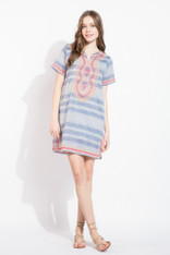 Striped Shift Dress with Embroidery