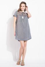 Denim Short Sleeve Embroidered Dress
