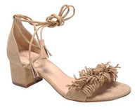 Beige Fringe Lace Up Sandals