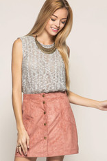 Dusty Pink Suede Skirt