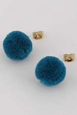 Teal Pom Pom Earrings