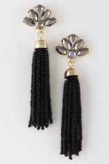 Black Beaded Pendant Tassel Earrings