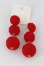 Red Beaded Pom Pom Earrings