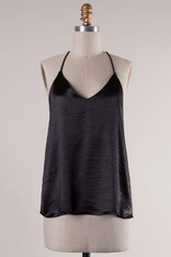 Black Spaghetti Strap V-Neck Top
