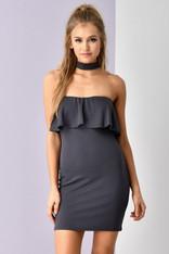 Charcoal Strapless Choker Dress