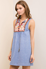 Striped Sleeveless Dress with Tribal Embroidery