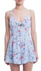 Tie Front Blue Romper Floral Print
