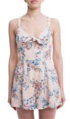 Blush Floral Print Tie Front Romper