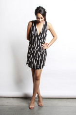 Black and White Sleeveless Wrap Dress
