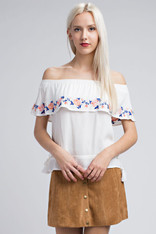 White Off the Shoulder Top Embroidered Floral Design
