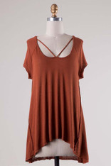 Burnt Orange Criss Cross Front Tee
