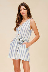 Chambray and White Striped Dress Crochet Back