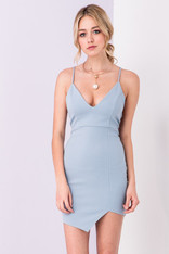 Sky Blue Fitted Strappy Back Dress