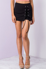 Black Lace Up Skort