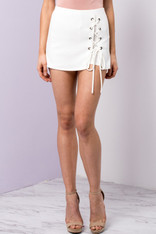White Lace Up Skort